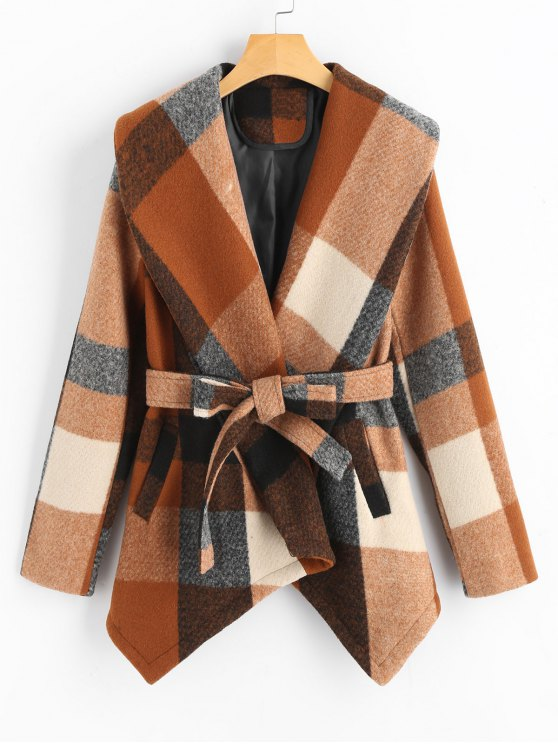 lady Belted Wool Blend Plaid Coat - CHECKED L