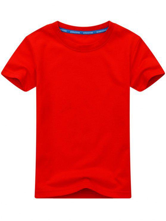 Camisa de manga curta de algodão com manga curta - Vermelho 2XL
