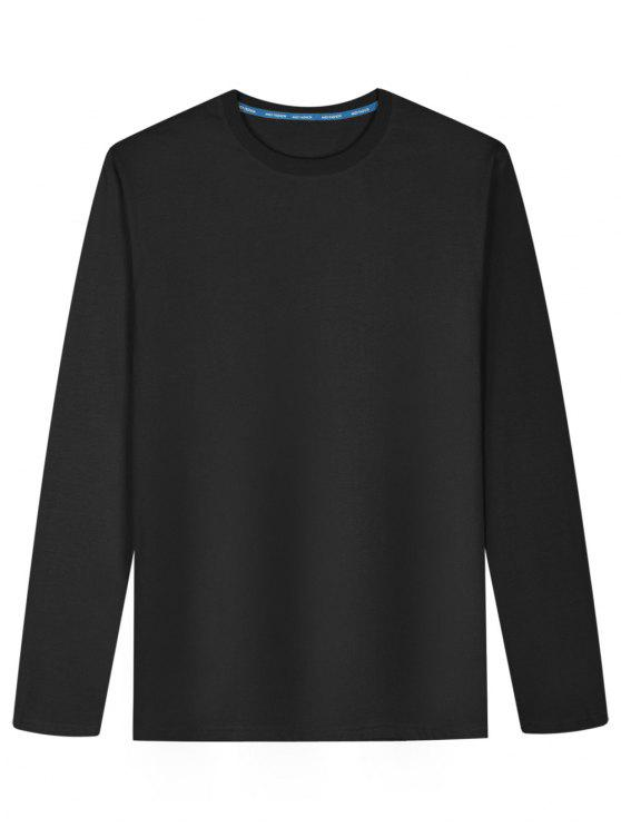 T-shirt en Coton Mélangé à Manches Longues - Noir L