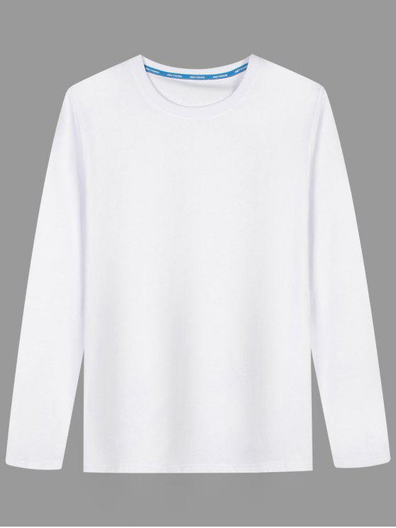 Langarm-Baumwollmischung T-Shirt - Weiß L