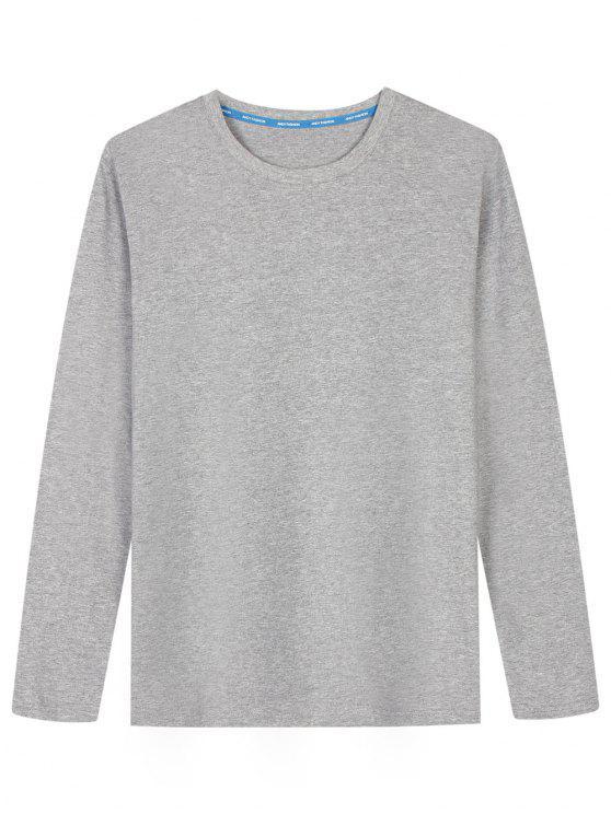 Langarm-Baumwollmischung T-Shirt - Grau 2XL