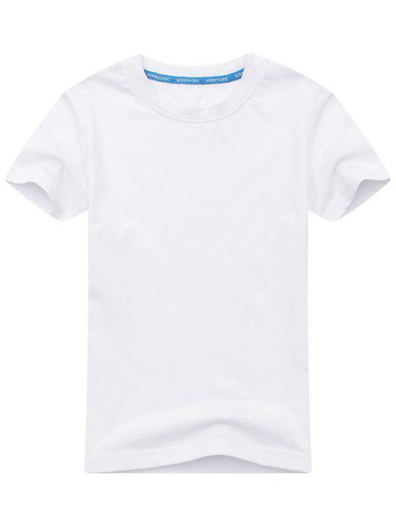 Kurzarm Baumwollmischung T Shirt - Weiß XL