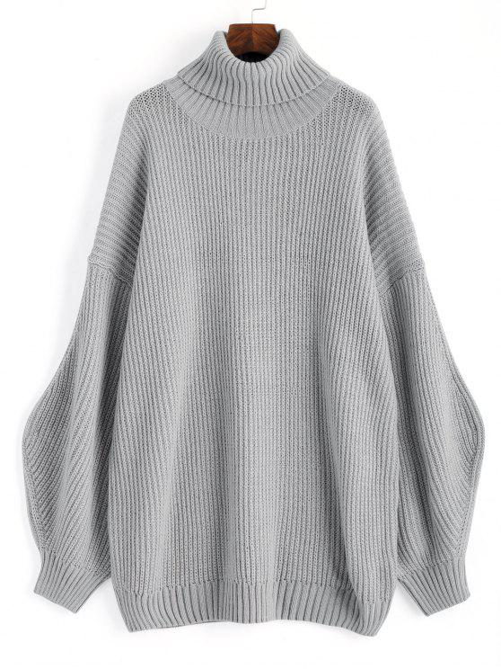 Lantern Sleeve Turtleneck Oversized Sweater GRAY: Sweaters ONE ...