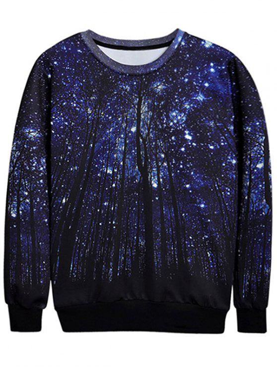 fancy Trees Print Crew Neck Sweatshirt - DEEP BLUE L