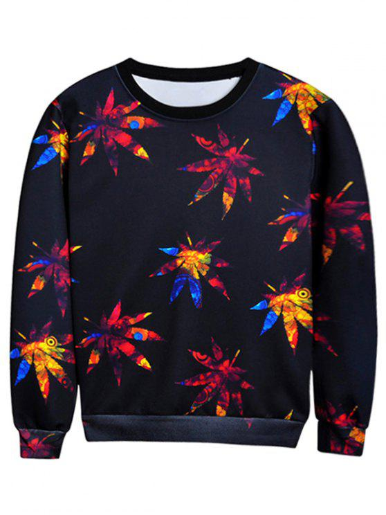 best Crew Neck Leaves Print Sweatshirt - BLACK M