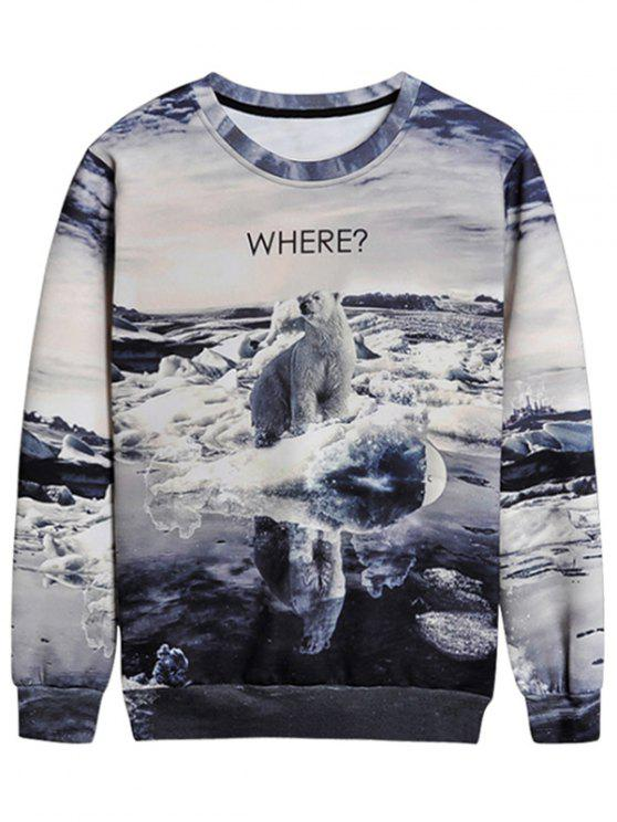sale Bear Graphic Crew Neck Sweatshirt - COLORMIX L