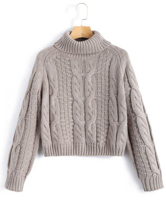 ladies Turtleneck Cropped Cable Knit Sweater - GRAY M