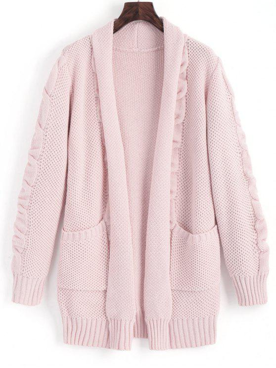 new Shawl Collar Cable Knit Cardigan - PINK L