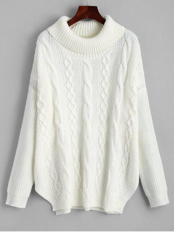 affordable Oversized Turtleneck Cable Knit Sweater - WHITE ONE SIZE