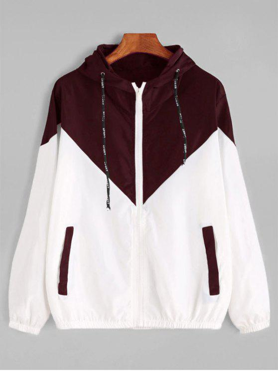 outfits Two Tone Hooded Windbreaker - RED WITH WHITE M