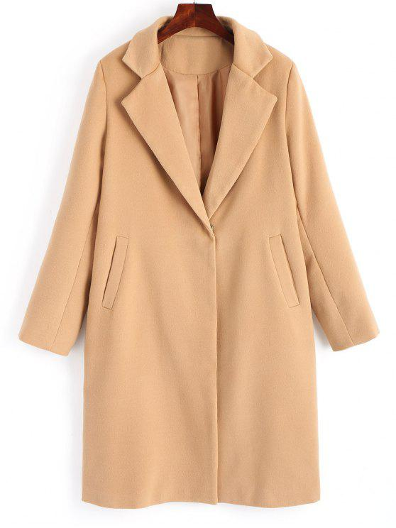 new Wool Blend Snap Buttoned Plain Coat - CAMEL M