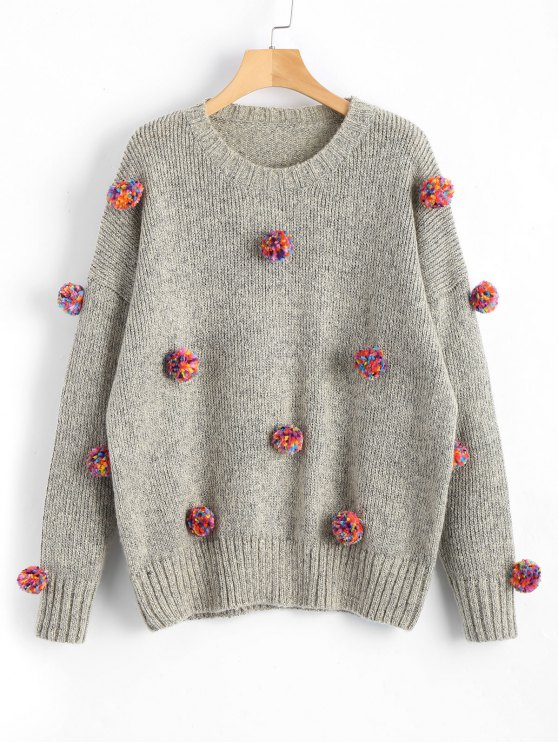 buy Heathered Colorful Pompoms Sweater - GRAY ONE SIZE