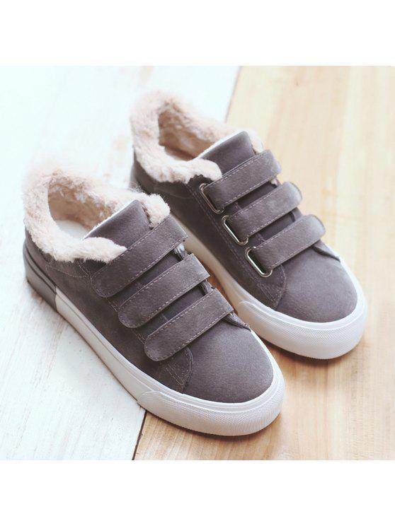 فو الفراء اللون كتلة عارضة الأحذية - اللون الرمادي 39