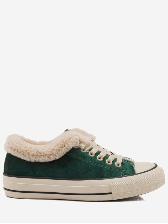 latest Low Heel Faux Fur Skate Shoes - GREEN 39