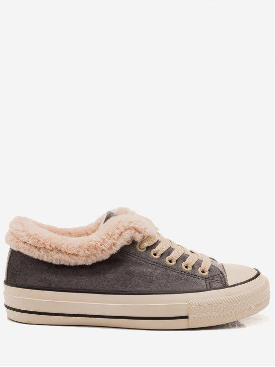 حذاء سكيت بكعب منخفض من الفرو المزيف - رمادي 38