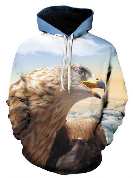 af21d1f7b516 58% OFF  2019 Hooded 3D Eagle Print Pullover Hoodie In COLORMIX