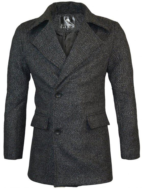 fashion Lapel Two Button Warm Wool Blend Coat - BLACK L