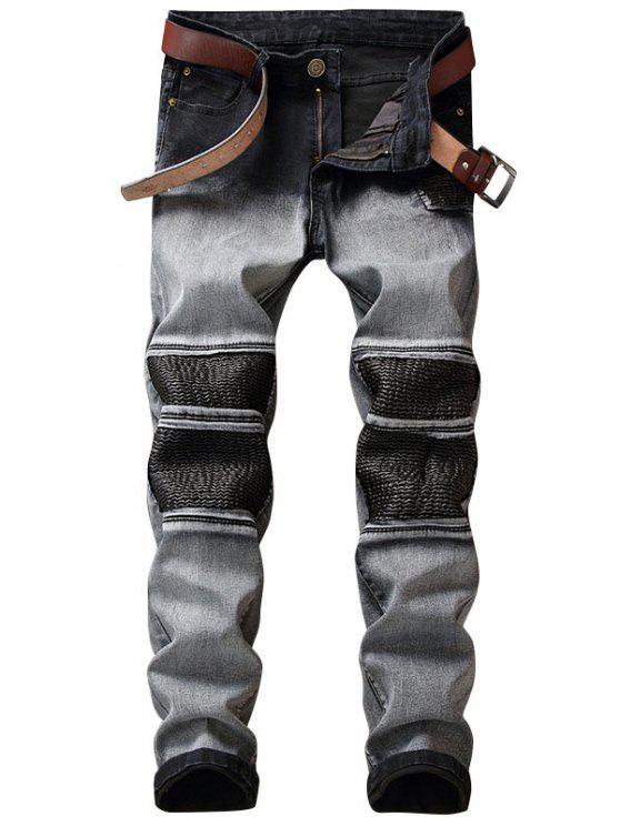 Faux Leather Insert Two Tone Biker Jeans - Cinza 30
