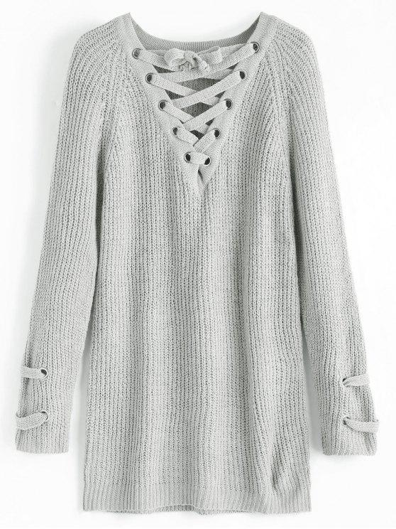 lady Plain Lace Up Pullover Sweater - LIGHT GRAY ONE SIZE