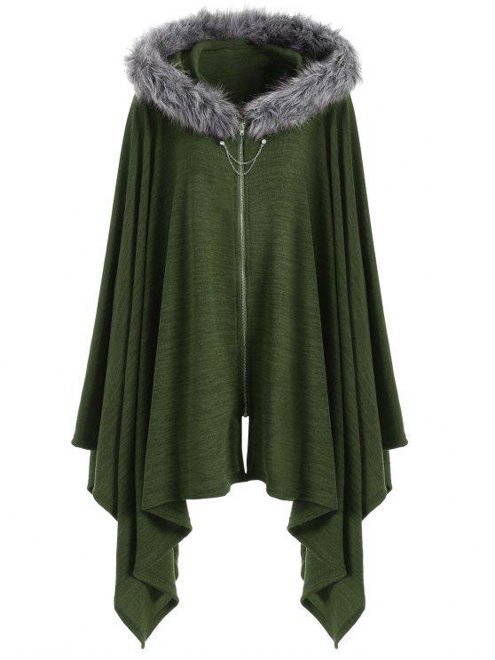 Asymmetric Faux Fur Panel Plus Size Cape Coat - Exército verde 5XL