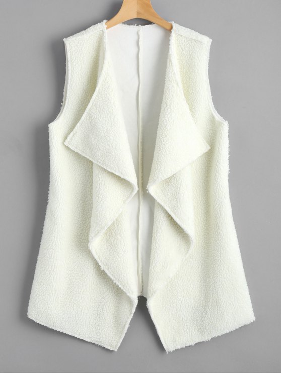fancy Open Front Textured Waterfall Waistcoat - WHITE ONE SIZE