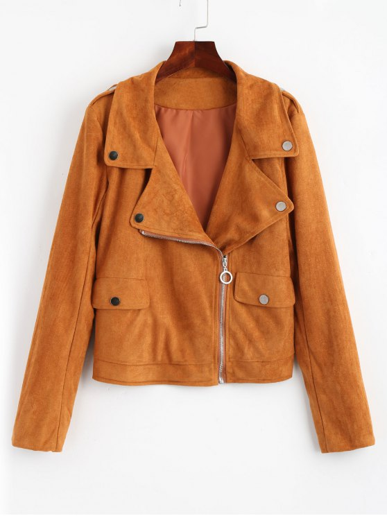 Zip Up Biker Faux Suede Jacket - Marrón Claro S