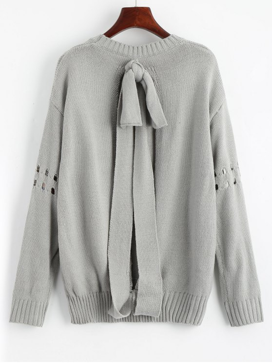 lady Bowknot Ripped Cut Out Sweater - GRAY ONE SIZE