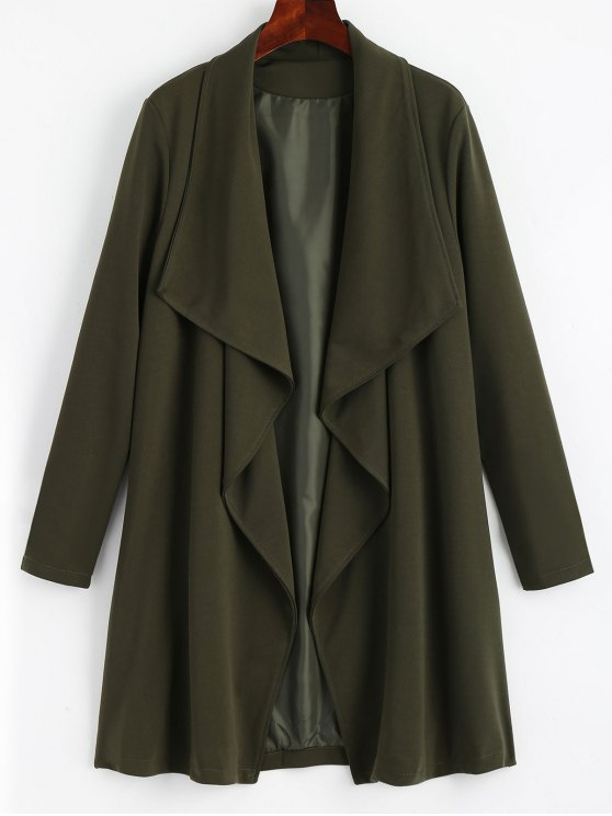 women's Open Front Soft Feel Trench Coat - ARMY GREEN L