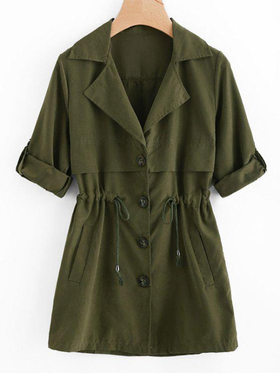 shops Waist Drawstring Trench Coat - ARMY GREEN L