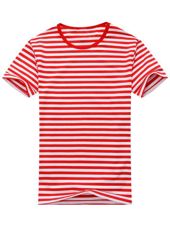 T-shirt Rayé à Manches Courtes en Coton Mélangé - Rouge et Blanc L