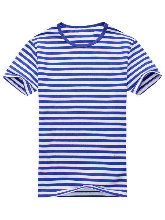T-shirt Rayé à Manches Courtes en Coton Mélangé - Bleu et Blanc L