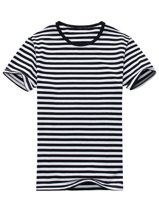 chic Cotton Blend Striped Short Sleeve Tee - WHITE AND BLACK L