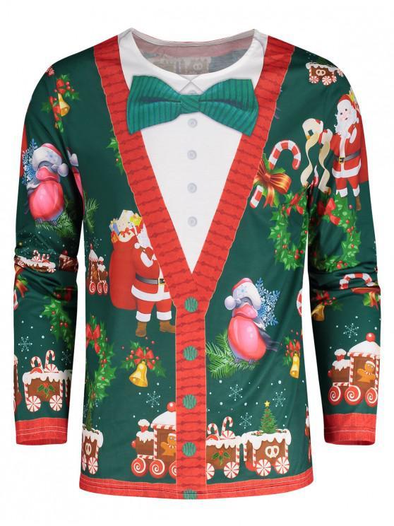 Camiseta Estampado Papá Noel 3D - Verde M