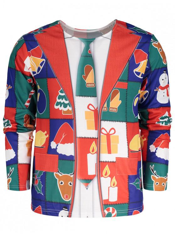 affordable Crew Neck Long Sleeve Christmas T-shirt - COLORMIX 2XL