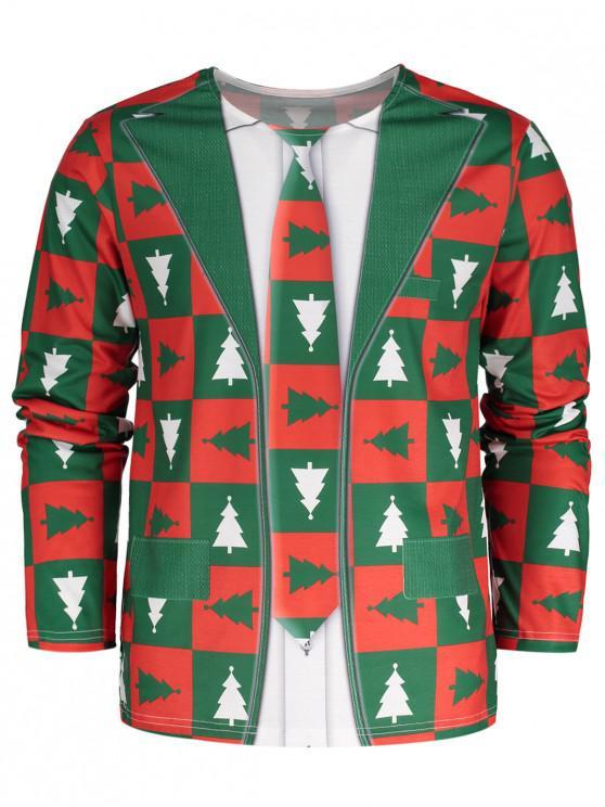 women Crew Neck Long Sleeve Christmas T-shirt - GREEN L