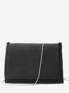 Solid Chain Flap Crossbody Bag - Black