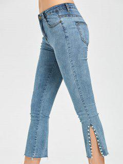 Beaded Slit Capri Jeans - Light Blue M