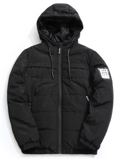 Hooded Quilted Jacket - Black Xl