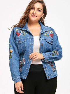 Embroidery Plus Size Denim Jacket - Denim Blue Xl