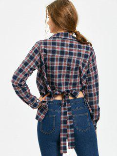 Tie Back Batwing Sleeve Plaid Shirt