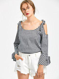 Cold Shoulder Flare Sleeve Gingham Blouse - White And Black Xl