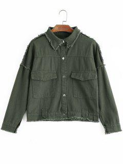 Embroidered Frayed Button Up Denim Jacket - Army Green