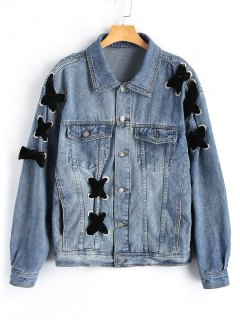 Button Up Criss Cross Denim Jacket - Denim Blue