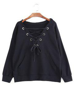 Pocket Oversized Lace Up Hoodie - Black S