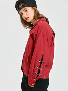 Clip Graphic Denim Jacket - Red S