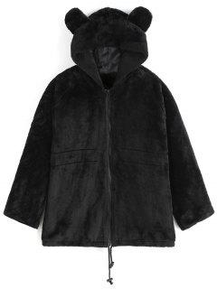 Hooded Faux Fur Coat - Black L