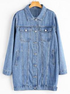 Buttoned Tads Hem Button Up Denim Coat - Denim Blue M