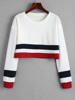 Cropped Striped Drop Shoulder Sweatshirt - White M