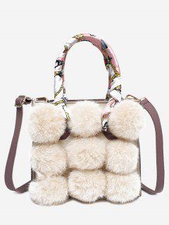 Scarf Pompoms Handbag With Strap - Beige