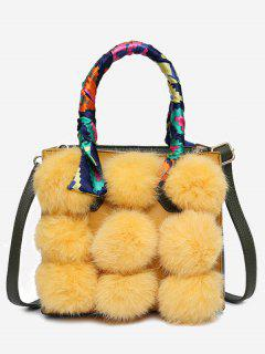 Scarf Pompoms Handbag With Strap - Yellow